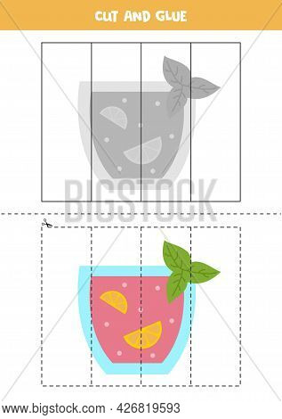 Cut And Glue Game For Kids With Summer Cocktail. Cutting Practice For Preschoolers.