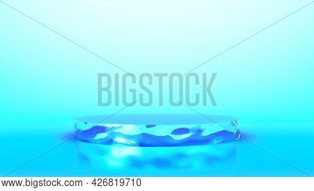 Ice Cylinder Podium On Blue Background. Minimal Geometric Podium Template. Blank Pedestal For Advert