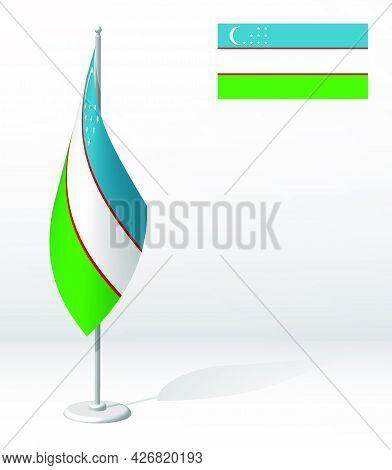 Uzbekistan Flag On Flagpole For Registration Of Solemn Event, Meeting Foreign Guests. National Indep