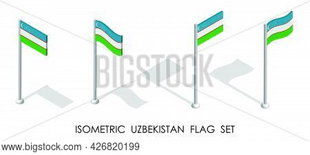 Isometric Flag Of Uzbekistan In Static Position And In Motion On Flagpole. 3d Vector