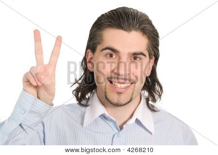 Young Handsome Male Shows Victory Sign