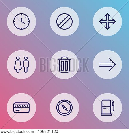 Navigation Icons Line Style Set With Toilet, Navigation, Garbage And Other Trash Bin Elements. Isola