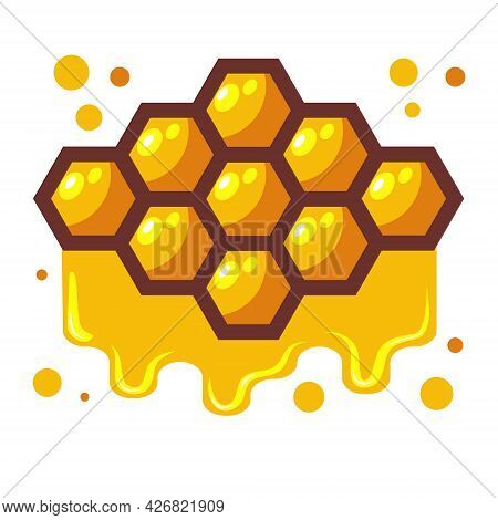 Bees Honeycomb With Honey Dripping Off It. Cartoon Vector Illustration Isolated On White Background