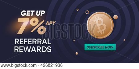 Cryptocurrency Banner For Marketplace, Smartphone Mail Newsletter, Crypto Advertising. Referral Rewa
