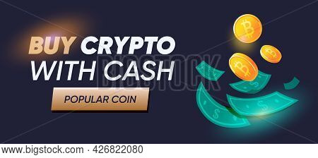 Digital Currency Or Cryptocurrency Banner For Market Landing Page. Buy Crypto Advertising Banner. Bi