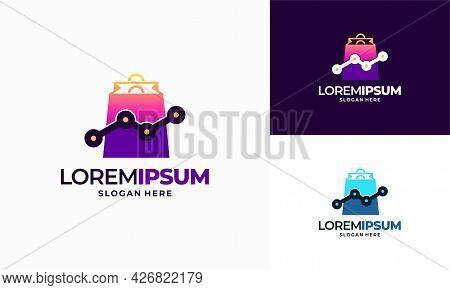 Shop Stat Logo Template Design, Marketing Sales Report Logo Designs Concept Vector