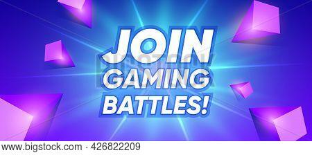 Gaming Battles Banner Cartoon Concept. Join Cyber Abstract Presentation Border