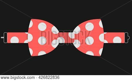 Bow Tie, Red Bow Tie With White Polka Dots On A Black Background. Vector, Cartoon Illustration. Vect
