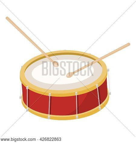 Drum, Red Drum Isolated On White Background. Vector, Cartoon Illustration. Vector.