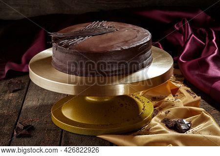 Traditional Austrian Sachertorte With Dark Chocolate Ganache