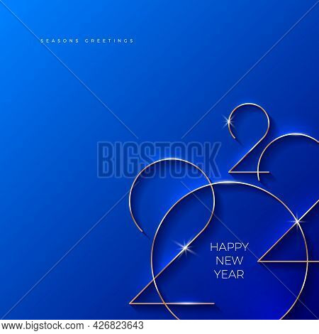 Blue Greeting Card With Golden 2022 New Year Logo. Vector Illustration. Holiday Design For Greeting