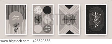 Set Of Wall Art Minimal Poster. Scandinavian Style Hand Drawn Wall Art Decor. Design With Abstract S