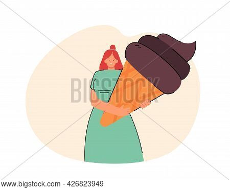 Happy Female Cartoon Character Holding Huge Chocolate Ice Cream. Woman With Giant Sweet Treat Flat V