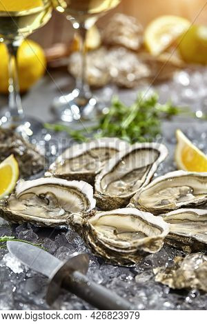 Fresh Open Oysters On Ice With Lemon And White Wine