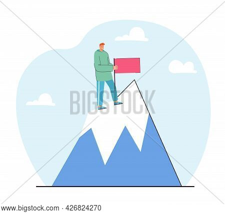 Man Reaching Top Pf Mountain And Planting Flag. Male Cartoon Character Achieving Goal Flat Vector Il