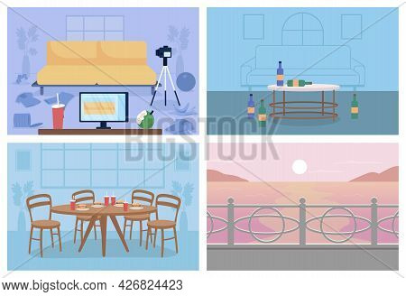 Unhealthy Lifestyle Environment Flat Color Vector Illustration Set. Messy Home. Table With Junk Food