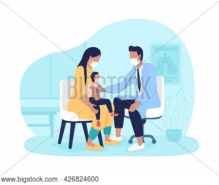 Mom And Toddler Appointment To Doctor 2d Vector Isolated Illustration. Diagnosing Lung Disorders In