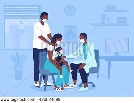 Bringing Child To Hospital Appointment Flat Color Vector Illustration. Mother And Father Presenting