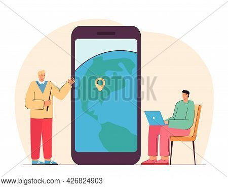 Geography Teacher Or Manager And Man With Laptop. Person Holding Pointer Near Huge Phone With Locati