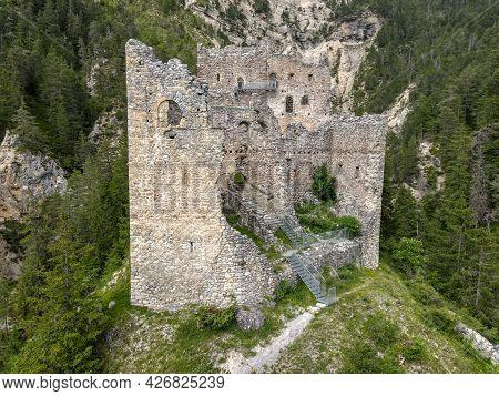 Ruins Of Belfort Castle Near Brienz On The Swiss Alps