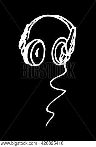 Vector Headphones Icon. Hand-drawn Doodle-style Computer Headphones With A Wire, An Isolated White C