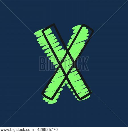 Letter X Logo Hand-drawn With Felt-tip And Marker Strokes. Perfect To Use In Any Comic Strip Pages,