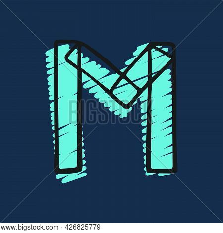 Letter M Logo Hand-drawn With Felt-tip And Marker Strokes. Perfect To Use In Any Comic Strip Pages,