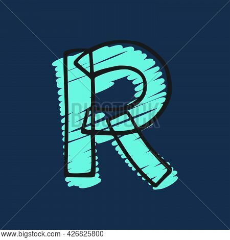 Letter R Logo Hand-drawn With Felt-tip And Marker Strokes. Perfect To Use In Any Comic Strip Pages,