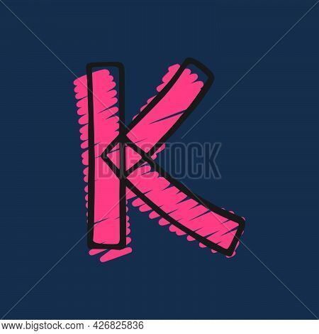Letter K Logo Hand-drawn With Felt-tip And Marker Strokes. Perfect To Use In Any Comic Strip Pages,