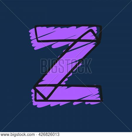 Letter Z Logo Hand-drawn With Felt-tip And Marker Strokes. Perfect To Use In Any Comic Strip Pages,