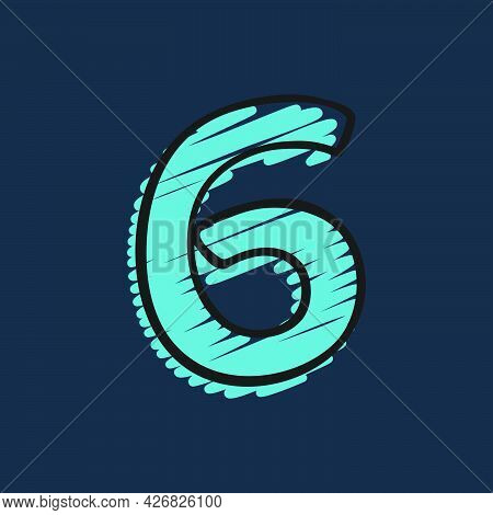Number Six Logo Hand-drawn With Felt-tip And Marker Strokes. Perfect To Use In Any Comic Strip Pages