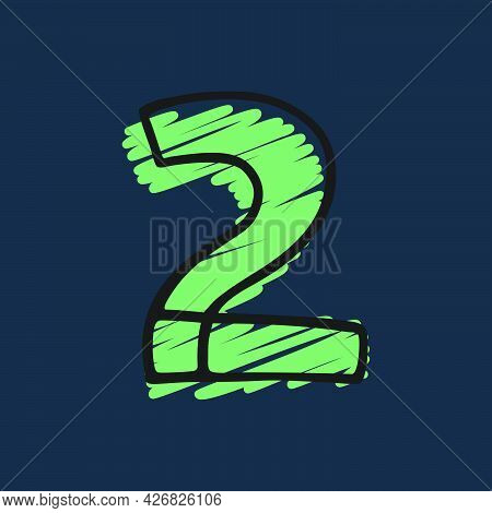 Number Two Logo Hand-drawn With Felt-tip And Marker Strokes. Perfect To Use In Any Comic Strip Pages