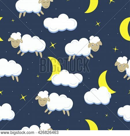 Sheep, Crescent, Cloud And Star On Dark Blue Background. Seamless Pattern. Cartoon Vector Illustrati