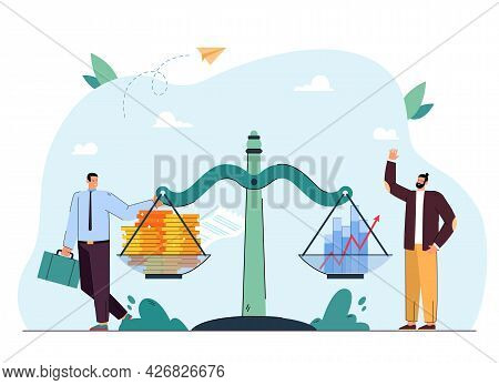Businessman And Investor Next To Money And Graphs On Scales. Men Balancing Coins And Profit Flat Vec