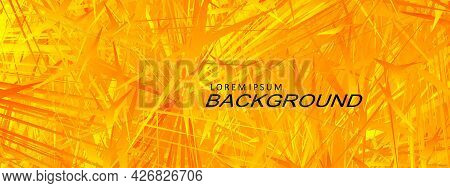 Textured Yellow Background, Abstract Chaotically Drawn Sharp Shapes.