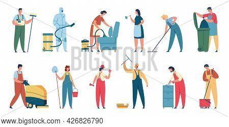 Cleaning Service. Professional Cleaners In Uniform With Cleaning Equipment. Domestic Cleaner, Janito