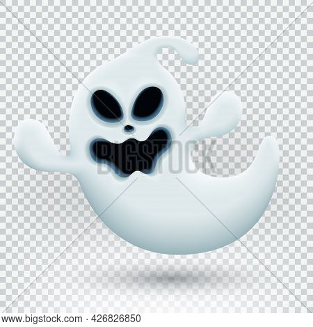Vector Illustration With Funny Ghost. Realistic Ghost Isolated On Transparent Background. Vector Ill