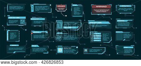 Hud Callout Titles. Futuristic Text Boxes, Digital Callouts Bar Labels. Sci-fi Info Frame Template,