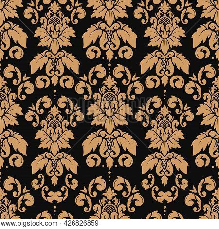 Damask Seamless Pattern. Gold Luxury Elegant Floral Ornament. Classic Baroque Decor For Wallpaper, T