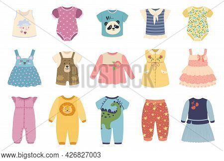 Kids Clothes. Cute Baby Boys And Girls Cloth With Funny Patterns. Jacket, Dress, Skirt. Children Sum