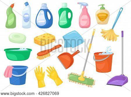 Cleaning Supplies. Broom, Spray Bottle, Mop, Detergent, Bucket, Sponge. Household Accessories And Pr