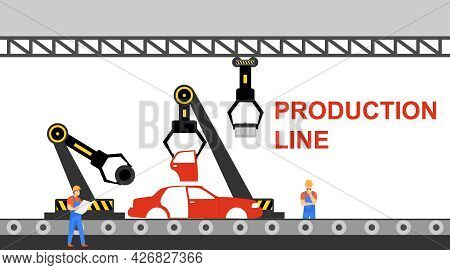 Production Line For The Collection Of Cars. Automotive Conveyor Belt With Mechanical Arm. Vector Ill