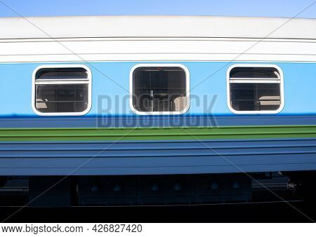 Train At The Train Station. Railway Carriage. Windows In Passenger Coach.
