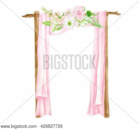 Watercolor Square Wedding Arch With Flowers. Hand Drawn Wood Archway, Pink Veil Curtains, Blush Flor