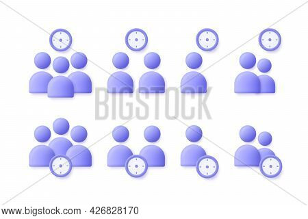 Time Management User, Business People Icon Set. Appointment, Organization, Community, Watch, Limited