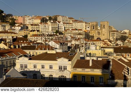 Lisbon, Portugal - February 16, 2017: Aerial View Of The Se Cathedral Of Lisbon Since Rua Augusta Ar