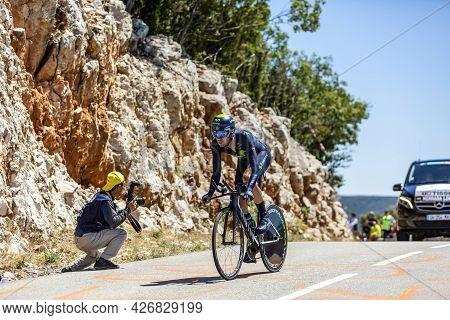 Col Du Serre De Tourre,france - July 15,2016: The Spanish Cyclist Jesus Herrada Lopez Of Movistar Te