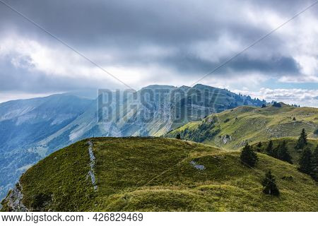 Cloudy Landscape In The French Jura Mountains.