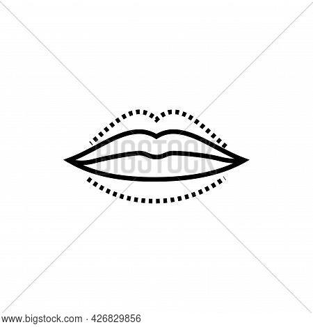 Change Shape Lips Icon. Lip Augmentation With Hyaluronic Acid Vector Illustration.