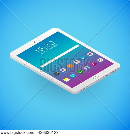 Realistic Digital Tablet In Isometry. Vector Isometric Illustration Of Electronic Device With Workin
